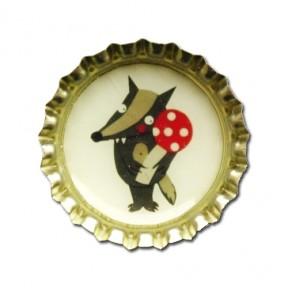 Kronkorken Magnet Wolf mit Glückspilz