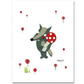 Miniposter - Wolf mit Glückspilz