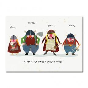 "Postkarte Wikingerfamilie ""viele liebe Grüße!"""