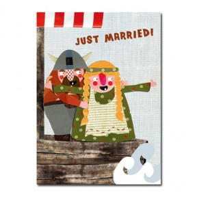 "Postkarte Wikinger ""Just married!"""